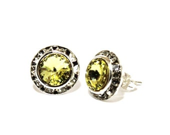 Jonquil Yellow 13mm Silver Stud Earrings made with Swarovski Crystal Elements