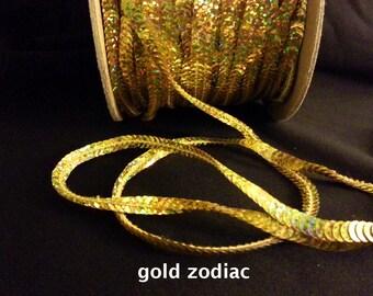 gold zodiac (hologram) sequin trim--non-stretch and stretch