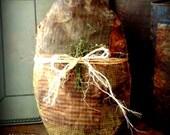 Primitive Folk Art Grungy Old Farmhouse Patchwork Quilt Weighted Rag Stuffed Easter Egg--Hafair Team