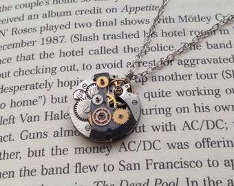 "Handmade STEAMPUNK Pendant Necklace with Vintage Watch Movement and Gears - ""Gears of Time"""