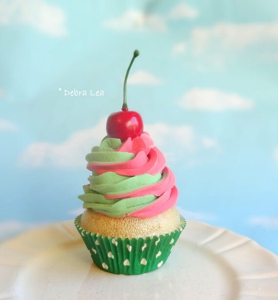 Fake Cupcake Realistic Christmas Holiday Red Green Swirl Candy Stripe Mint Faux Ornament Cherry