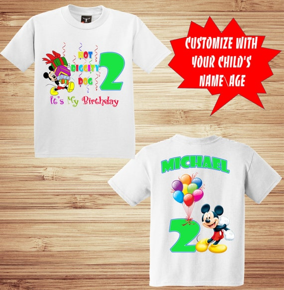 Personalized Mickey Birthday Front and Back Printed T Shirt - Disney, Clubhouse, Minnie, Goofy