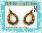 DIY Beading pattern Cleopatra earrings / PDF tutorial with detailed instructions, images and diagrams / Cubic Right Angle Weave 3D, Superduo