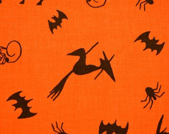 Halloween Bats and Witches  fabric 18 x 33 inches