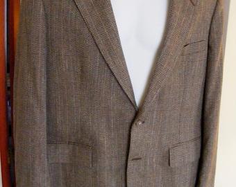 42R Men's Vintage Plaid Wool Blazer by Stafford 1980s Brown