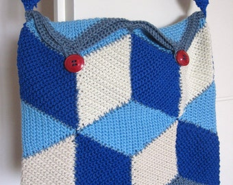 Vasarely Crochet Crossbody Bag in Blue Tones w\ Vintage Red Buttons. 100% Cotton Completely Lined. OOAK