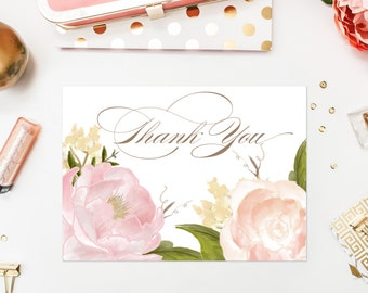 INSTANT DOWNLOAD Thank You Card - Romantic Watercolor Peonies and Roses Thank You Card - 5 x 7