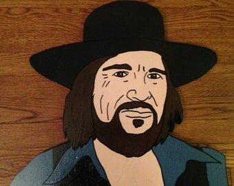 Waylon Jennings Wood Art Cut Out Head