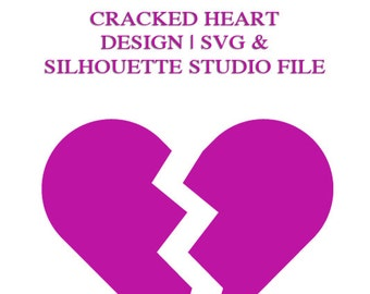 Cracked Heart File for Cutting Machines | SVG and Silhouette Studio (DXF)