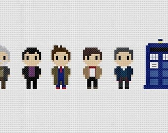 Doctor Who New Doctors and Tardis Cross Stitch Pattern