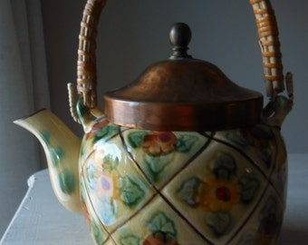 Vintage Tea Pot , Majolica Floral Lattice Pattern, with Copper lid, Made in Japan.