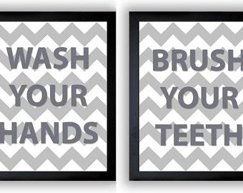 Grey Chevron Bathroom Decor Bathroom Print Wash Your Hands Brush Your Teeth Set of 2 Bathroom Art Prints Wall Decor Modern Minimalist