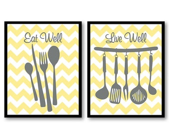 Yellow Gray Grey Eat Well Live Well Kitchen Print Set Of 2 Wall Decor  Cutley Kitchen