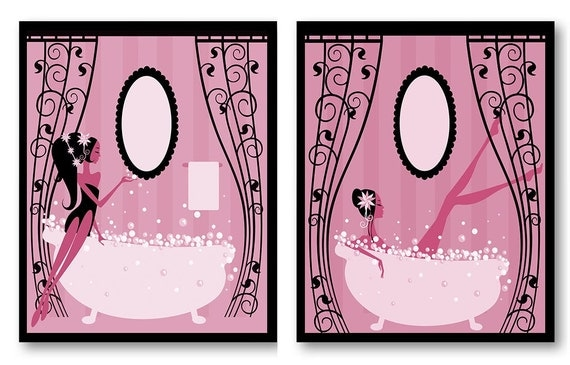 Pink Black Wall Decor : Hot pink black bathroom decor print set of
