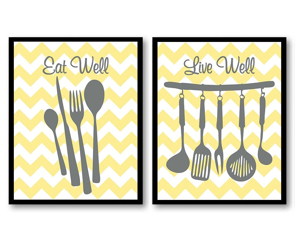 Yellow And Grey Wall Decor yellow gray grey eat well live well kitchen print set of 2