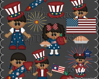 AA God Bless America Kids Exclusive Clipart