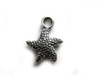 10 Small Silver Starfish Charms