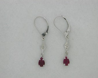 Natural Ruby Diamond Dangle Earring 14kt White Gold