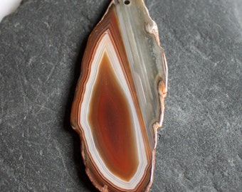 Brown Banded Agate Gemstone  Pendant - 32mm x 80mm