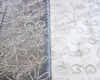 Silver Organza Fabric with Silver Chain Stitch Embroidered Vine Pattern