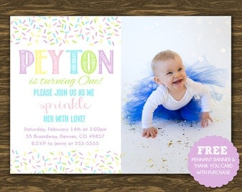 Sprinkle Birthday Invitation - Printable - FREE pennant banner and thank you card with purchase