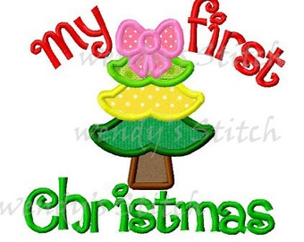 My first Christmas tree applique machine embroidery design instant download