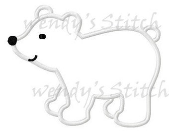 Plolar bear applique machine embroidery design instant download