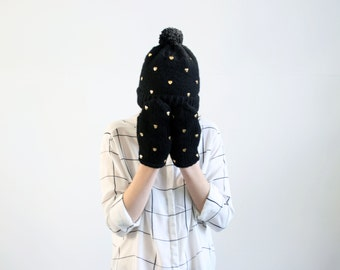handmade cute black set of mittens and pom pom hat from wool with gold heart  shaped studs