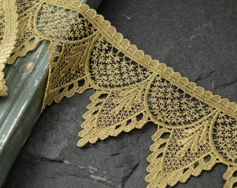 GOLD Metallic Thread Lace Trim for Bridal, Costume or Jewelry, Crafts and Sewing, 3-5/8 Inch by 1 Yard, TR-10980