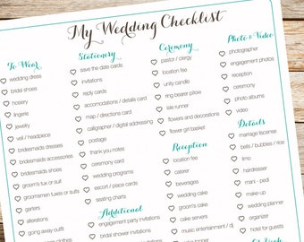 Digital Wedding Checklist, Organization, Bridal To Do List, Wedding  Itemized List, Teal