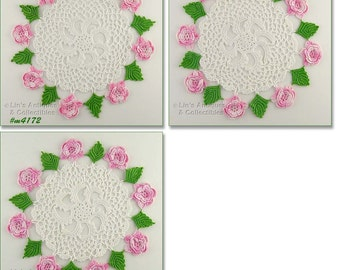 Temporary Price Reduction!! Lot of 3 Vintage White Crochet Doilies with Pink Roses Flowers and Green Leaves  (Inventory #M4172)