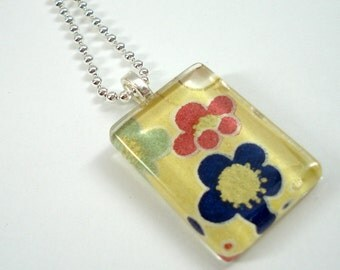Japanese Chiyogami Paper Pendant - Blue & Green Plum Blossoms - Rectangular Glass Tile Pendant w/Chain - Flower Necklace - Japanese Necklace