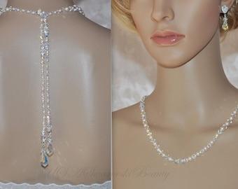 Gatsby jewelry Vintage wedding 1920's Back drop Lariat Teardrop Crystal Earrings  Swarovski Crystal Necklace Bridal Bridesmaid Black Tie