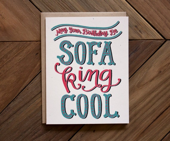Birthday Card Sofa King Cool By Beauarrow On Etsy