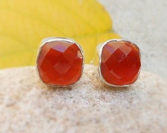 Hot Red Onyx Post Stud Earring - Red onyx studs - Silver Post Earring - Red onyx faceted Gemstone Earring - Cushion Studs - Everyday studs