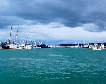Alaska, Homer, Fishing Boats, Clouds, Harbor, Misty
