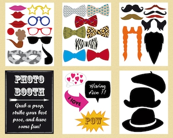 Printable photobooth props - instant download photo booth sign - glasses beard mustache hat lips bow tie printable prop photobooth party kit