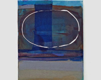 Small Abstract Painting  - Blue Abstract painting - Contemporary Abstract Art - Acrylic on Canvas 9.5x12 inches - Free Shipping