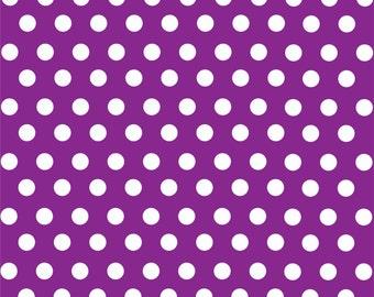 Purple with white polka dot pattern craft  vinyl sheet - HTV or Adhesive Vinyl -  medium polka dots HTV1611