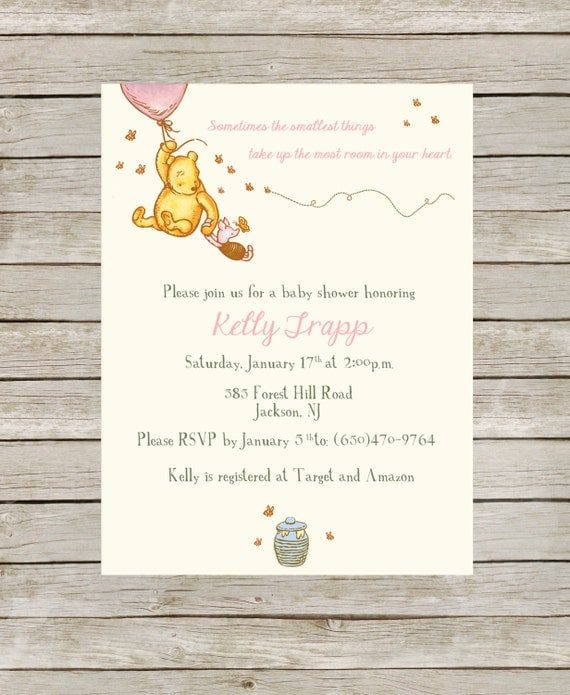 Winnie The Pooh Templates For Baby Shower: Classic Winnie The Pooh Themed Baby Shower Pink By JDTradingCo