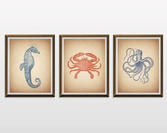 Sea Life Wall Decor - Nautical Decor - Nautical Nursery - Nautical Art - Nautical Prints - Bathroom Decor, Vintage Illustration, Scientific