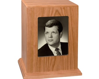 Natural Cherry Vertical Photo Wood Cremation Urn