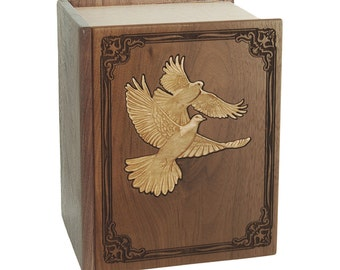Walnut Book with Doves Companion Wood Cremation Urn