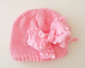 Hand Knit Baby Hat Pink with Pink Double Bow
