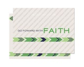 Green Go Forward with Faith | Missionary Note Card/ Journal Card