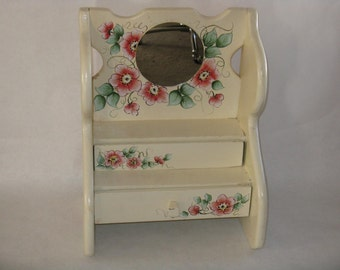 Large hand made jewelry dresser wood box drawers flowers mirror vintage