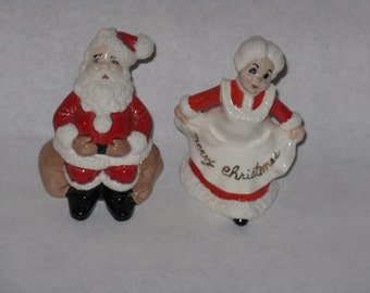 Vintage ceramic Santa Mr and Mrs Claus figurines