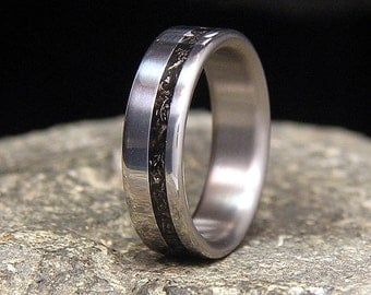 Meteorite Shavings Wide Offset Inlay Titanium Wedding Band or Ring