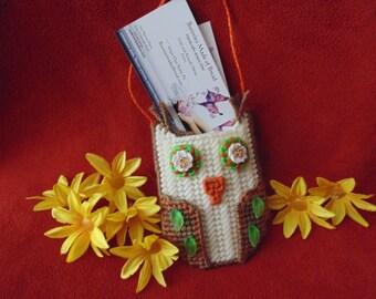 Beaded Owl Needlepoint Gift Card Business Card Holder
