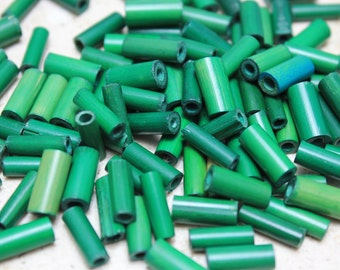 Vintage Green Wood Tube Bead (36 Pieces)
